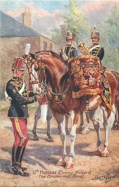 British; 11th(Prince Albert's Own) Hussars, c.1914, The Drums and Band by Harry Payne
