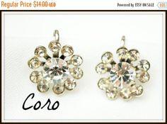 Coro Earrings Clear Rhinestone Flower screw back mid century
