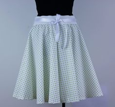 A personal favourite from my Etsy shop https://www.etsy.com/listing/517691165/polka-dots-full-circle-skirt-white-green