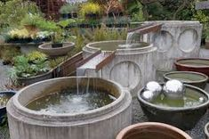 I found this image on Google but no description of where it was taken. I would guess this is a display at a water garden nursery retailer. Nice cascading container water feature.