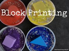 Block printing with wooden blocks and paint makes for a fun toddler exploration.