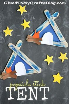 Today's Popsicle Stick Tent Kid Craft idea is absolutely PERFECT for summer boredom busters and family camping adventures! It's simple for all ages and it's goi Preschool Camping Activities, Camping Theme Crafts, Camping Crafts For Kids, Summer Camp Activities, Summer Camp Crafts, Daycare Crafts, Classroom Crafts, Craft Activities, Preschool Crafts