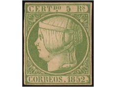 Spain - 15. 5 Reales verde. Márgenes justos, pero completos. Plena goma original. Buen color. Cert. COMEX. Cat. 3.100 €.    Dealer  Filatelia Llach, S.L.    Auction  Minimum Bid:  500.00EUR