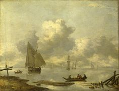 Vessels In Light Airs On A River Near A Town Jan van de Cappelle