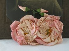 Vintage Silk Ribbonwork Flapper Double Roses and Buds
