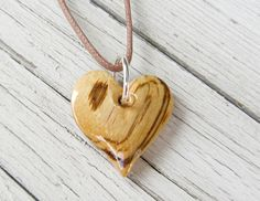 Wood Heart Necklace  African Zebrawood by TheLotusShop, $18.95