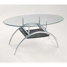Glass Coffe Table with Black Mesh Shelf - Overstock™ Shopping - Great Deals on Walker Edison Coffee, Sofa & End Tables Oval Glass Coffee Table, Coffee Table Images, Round Coffee Table, Coffee Table Design, Modern Coffee Tables, Home Designer, Black Shelves, Contemporary Coffee Table, Sofa End Tables