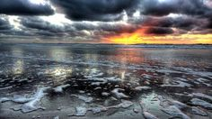 HD Wonderful Sunset On A Grey Beach Scape Hdr Wallpaper