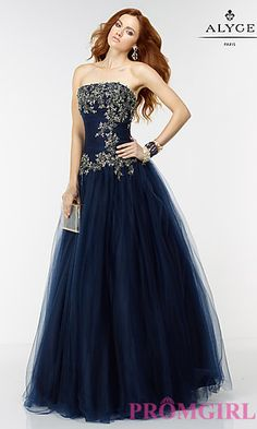Alyce Long Strapless Ball Gown Style Prom Dress at PromGirl.com