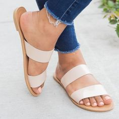 Slip-on style Double straps Cushioned insoles True to size Double Strap Sandals, Strappy Sandals, Sandals Outfit Summer, Fashion Wear, Shoe Boots, Footwear, Slip On, Heels, Bride Shoes