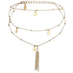 Women's Ettika Charm Layered Choker (2.230 RUB) ❤ liked on Polyvore featuring jewelry, necklaces, accessories, choker, gold, multi layer necklace, chain choker, star necklace, chain fringe necklace and 18 karat gold necklace