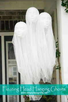 2015 Halloween ghost decoration ideas of floating head hanging ghosts - cheesecloth - Most creepy & creative Halloween ghost decoration ideas that you will like 2015 by 2014Fashionideas