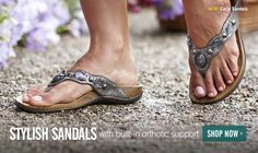 LOVE these sandals. Made for those with arch problems and plantar fasciitis. I can wear them all day and my feet feel great. I have them in bronze.