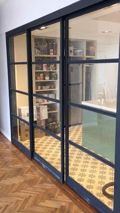 Door Design Interior, Home Room Design, Industrial Chic Decor, Room Partition Designs, Sliding Patio Doors, Pantry Design, Küchen Design, Modern Kitchen Design, House Rooms