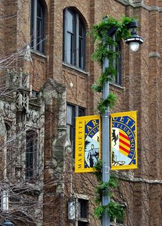 Christmas garland has arrived on Marquette University's campus.