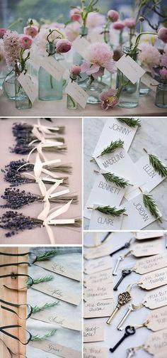 Ideas originales para colocar los nombres de los invitados en las bodas