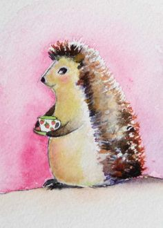 Stella Hedgehog and her Strawberry Tea ORIGINAL ACEO watercolour painting
