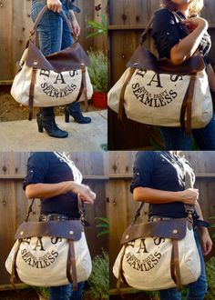 Larros Rabbit Pellets- Omaha, Nebraska - Vintage Feed Seed Sack Satchel Bag - Americana OOAK Canvas and Leather Handba5 $175.00