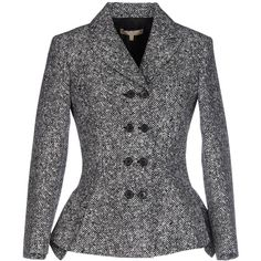 Michael Kors Blazer ($625) ❤ liked on Polyvore featuring outerwear, jackets, blazers, white, white double breasted jacket, double breasted wool blazer, double breasted blazer, white blazers and michael kors
