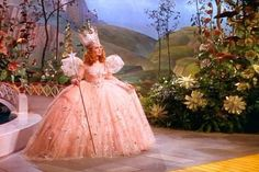 One of the most famous costumes in movie history, Billie Burke as Glinda the Good Witch in The Wizard of Oz, 1939.