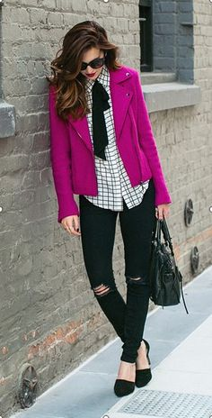 Dark Pink Moto Jacket with Destroyed Skinny Jeans in Black and Black Leather Handbag by Vanilla Extract