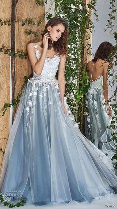 papilio 2018 bridal sleeveless sheer bateau sccoop neck heavily embellished bodice romantic blue a  line wedding dress sheer button back chapel train (5) mv -- Papilio 2018 Wedding Dresses #wedding #bridal #weddings