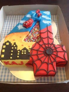 Number four spider themed cake
