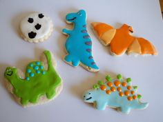 Dinosaur Cookies by Just4YouTreats on Etsy https://www.etsy.com/listing/83480524/dinosaur-cookies