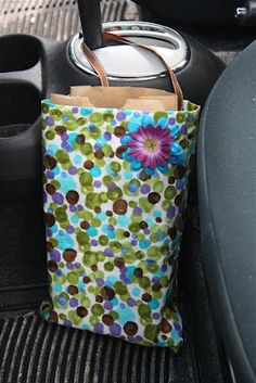 DIY Trash Bag for the Car Leftover fabric used to fit paper lunch sacks so you can toss the lunch sack when full.