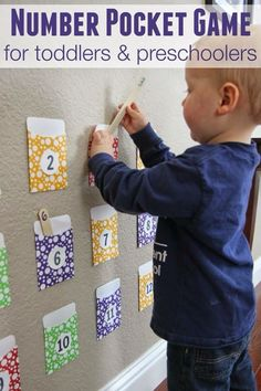 Pocket Game for Toddlers and Preschoolers Toddler Approved!: Number Pocket Game for Toddlers and PreschoolersToddler Approved!: Number Pocket Game for Toddlers and Preschoolers Toddler Learning Activities, Toddler Preschool, Fun Learning, Preschool Activities, Learning Numbers Preschool, Educational Games For Toddlers, Toddler Learning Games, Preschool Number Activities, Infant Activities