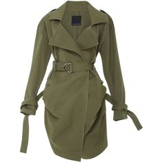 Marissa Webb Allister Trench Coat ($698) ❤ liked on Polyvore featuring outerwear, coats, jackets, green, trench coat, green coat and green trench coat