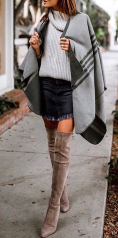 #winter #outfits grey cardigan