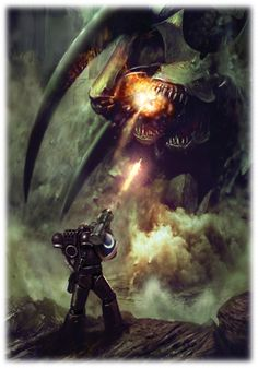 This picture demonstrates the sheer SCALE of the scene perfectly. The composition makes it so the marine is shown to be large against the ground point-of-reference, but the Tyranid is even larger, towering over him.