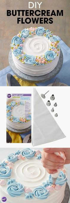 DIY Buttercream Flowers - Teach yourself how to make buttercream flowers with this step-by-step book set that shows you how with complete instructions and color photos, plus all the tools you need to (Cup Cake Design) Cake Decorating Techniques, Cake Decorating Tutorials, Cookie Decorating, Decorating Ideas, Simple Cake Decorating, Cake Decorating For Beginners, Decorating Cakes, Birthday Cake Decorating, Pretty Cakes
