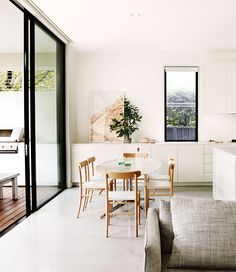 A lovely relaxed family home with gorgeous pastels, greys and whites. Love the polished concrete floor in the open-plan living area and the. Hygge, Home And Living, Home And Family, Simple Living, Living Area, Living Spaces, Interior Styling, Interior Decorating, Home And Deco
