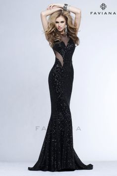 a062213b5a Faviana Style 7331 is a mermaid silhouette sequin dress with sexy mesh  details and is the hottest new sequin style this season.