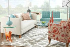 Here's the N320 Downing Sofa from @rowefurniture. Crisp, fresh, with wonderful pops of aqua and coral just makes this group a MUST HAVE! Visit www.rowefurniture.com to locate the dealer nearest you.