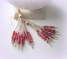 Resultado de imagem para seed bead rose earrings