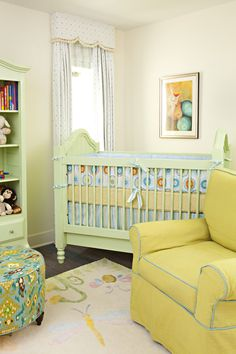 Yellow and blue nursery features blue crib dressed in yellow and blue crib bedding set, Annette Tatum Crib Bedding Set, situated under window dressed in white and blue polka dot valance accented with white and blue polka dot curtains. Nursery Room, Boy Room, Kids Room, Chic Nursery, Nursery Curtains, Girl Nursery, Yellow Nursery, Nursery Neutral, Bright Nursery