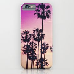 Sunset Palms Purple Tropical Sky iPhone Case by staypositivedesign