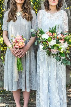 Silver lace bridesmaid dress inspiration from a Bohemian, Colourful and Rustic Outdoor Italian Wedding Shoot | Photography by http://www.charlottehuphotography.co.uk/