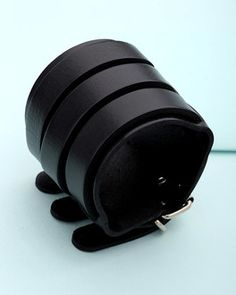 Mens Bracelets: Layered Black Leather Cuff Bracelet for Men