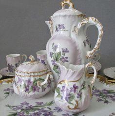 """Antique LIMOGES HP Porcelain TEA Pot Set VIOLETS 16"""" Tray S+C + 6 Cups + Saucers"""