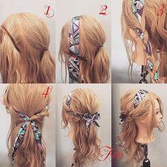 Hair do with scarf – – Geflochtene Frisuren – Tutorial Per Capelli Headband Hairstyles, Pretty Hairstyles, Easy Hairstyles, Hairstyle Ideas, Bandana Hairstyles For Long Hair, Party Hairstyle, Hairstyle Men, Hairstyles Haircuts, Natural Hairstyles
