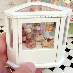 Patisserie / French Bakery Counter filled with Pink Treats - Unique Miniature Furniture in 12th Scale. $350.00, via Etsy.