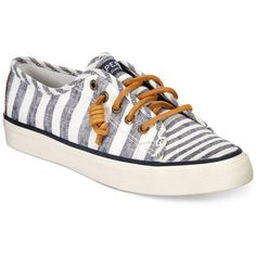 Sperry Women's Seacoast Canvas Sneakers ($60) ❤ liked on Polyvore featuring shoes, sneakers, navy stripe, plimsoll sneaker, navy sneakers, plimsoll shoes, preppy shoes and navy blue shoes