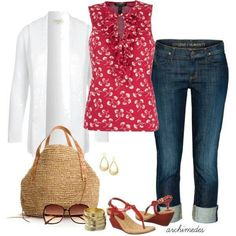 Plus size fashion.like the red blouse in this very basic outfit Fashion Mode, Look Fashion, Spring Fashion, Womens Fashion, Fashion 2018, French Fashion, Fashion News, Fashion Trends, Mode Outfits