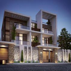 Compound Villa Type A on Behance House Wall Design, Duplex House Design, House Front Design, Modern Small House Design, Dream Home Design, Compound House, Modern Mansion, Modern Houses, House Elevation