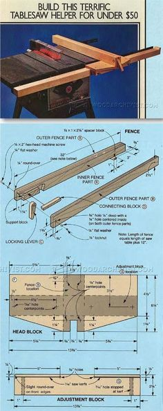 Table Saw Rip Fence – Table Saw Tips, Jigs and Fixtures – garage Woodworking Table Saw, Best Woodworking Tools, Woodworking Workshop, Woodworking Projects, Woodworking Techniques, Teds Woodworking, Diy Table Saw Fence, Table Saw Accessories, Serra Circular