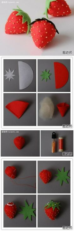 how to make cute strawberry decoration step by step DIY